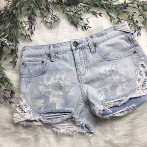 Free People Distressed Ripped Denim Shorts